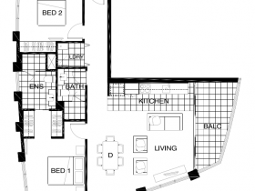 Two bedroom type H -Just floor plan